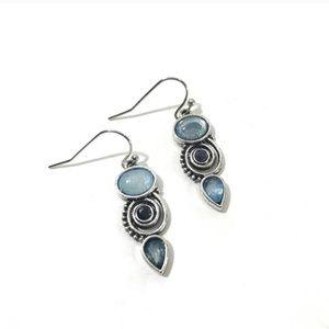 Blue Silver Spiral Drop Dangle Earrings
